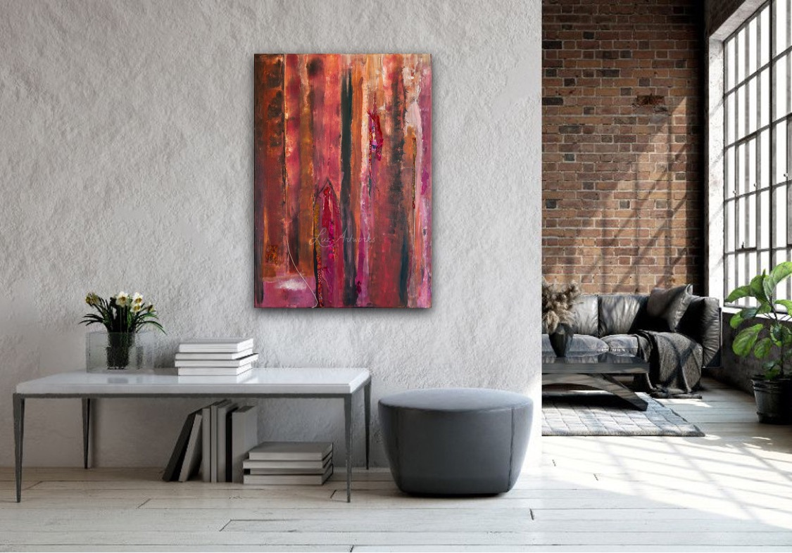 Painting In a Warm Place by Marloes Bloedjes Luz Artworks - on the wall