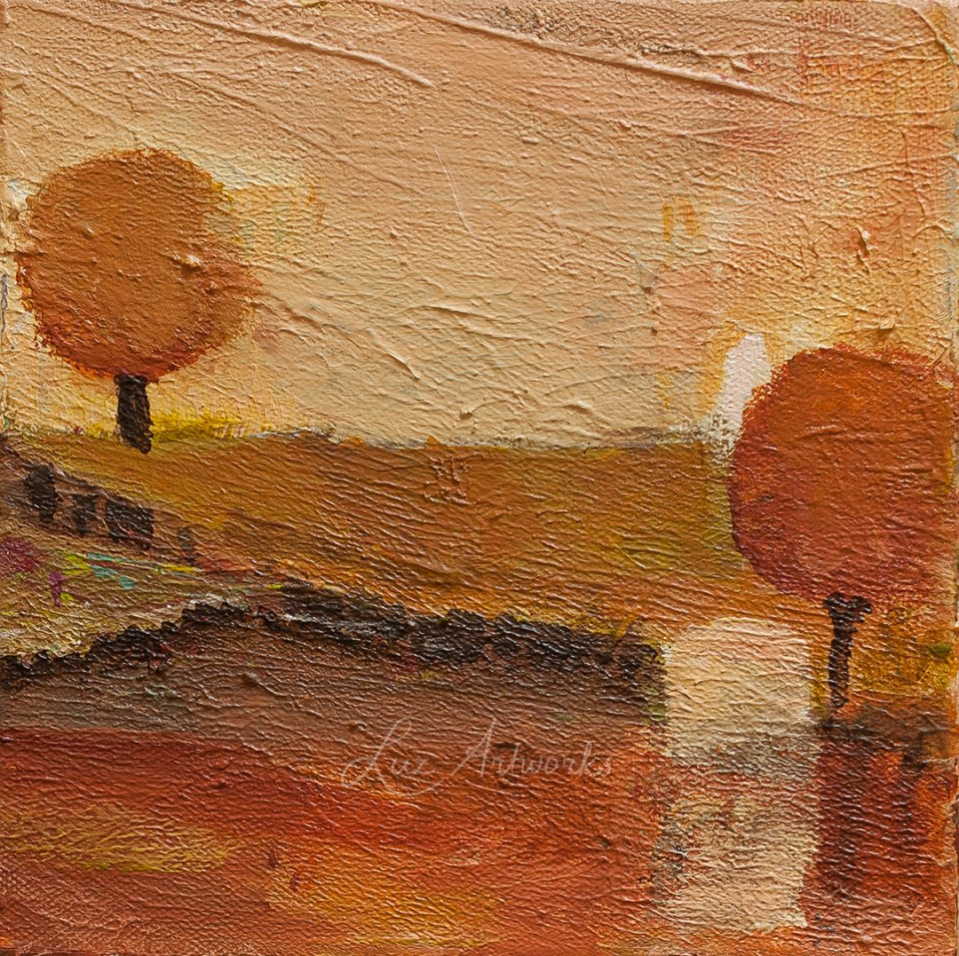This image shows the painting Orange landscape by Luz / Marloes Bloedjes
