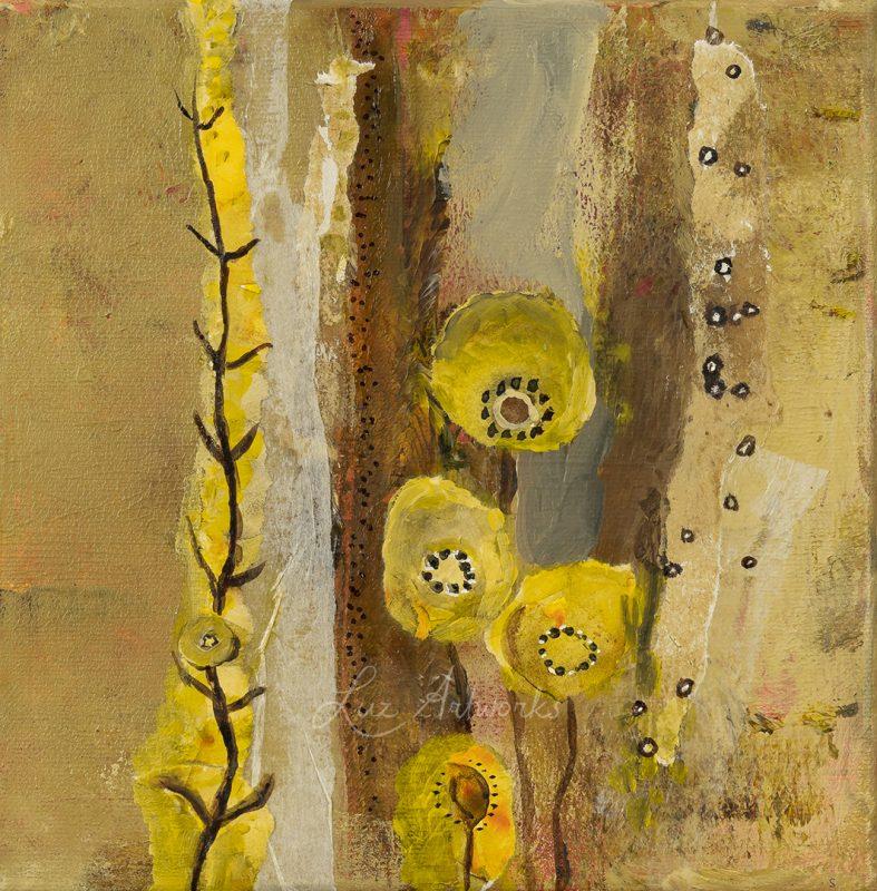 drieluik schilderij Flourish and flow 3