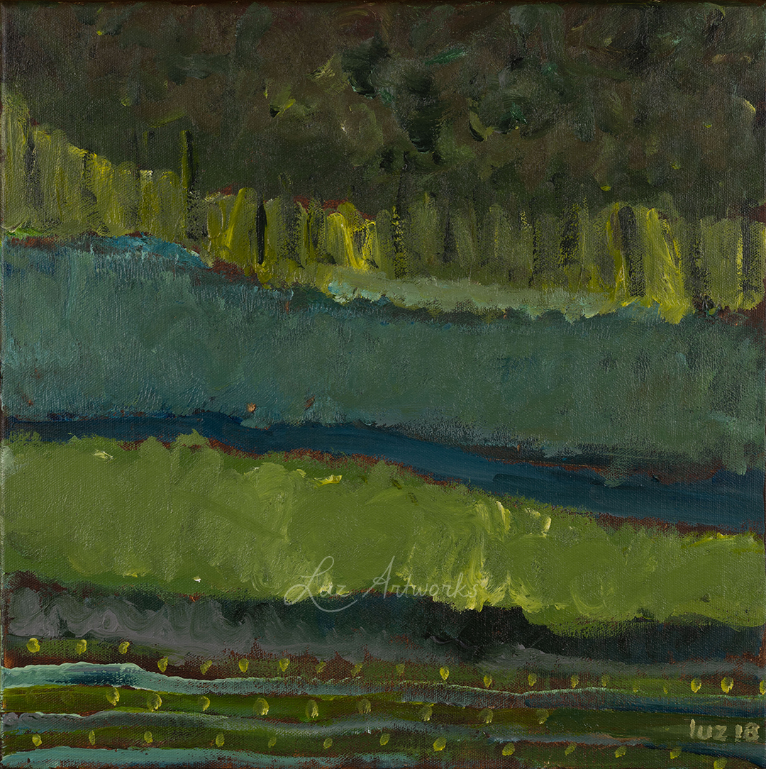 painting green landscape