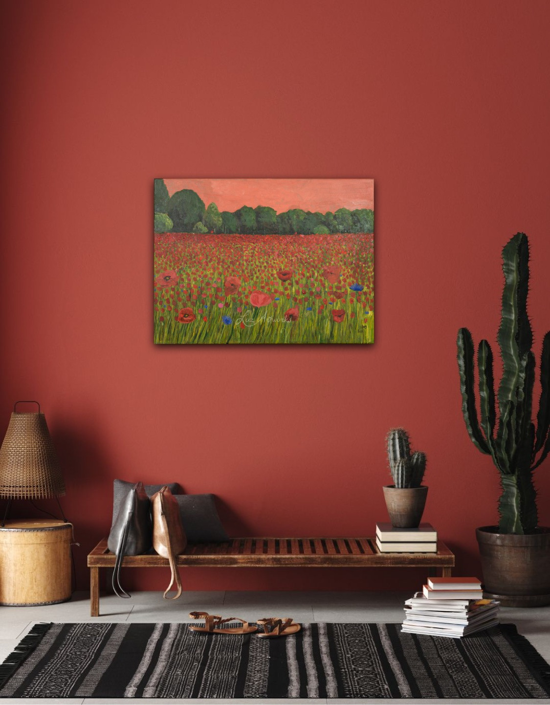 Painting Poppy Field by Marloes Bloedjes Luz Artworks - on the wall