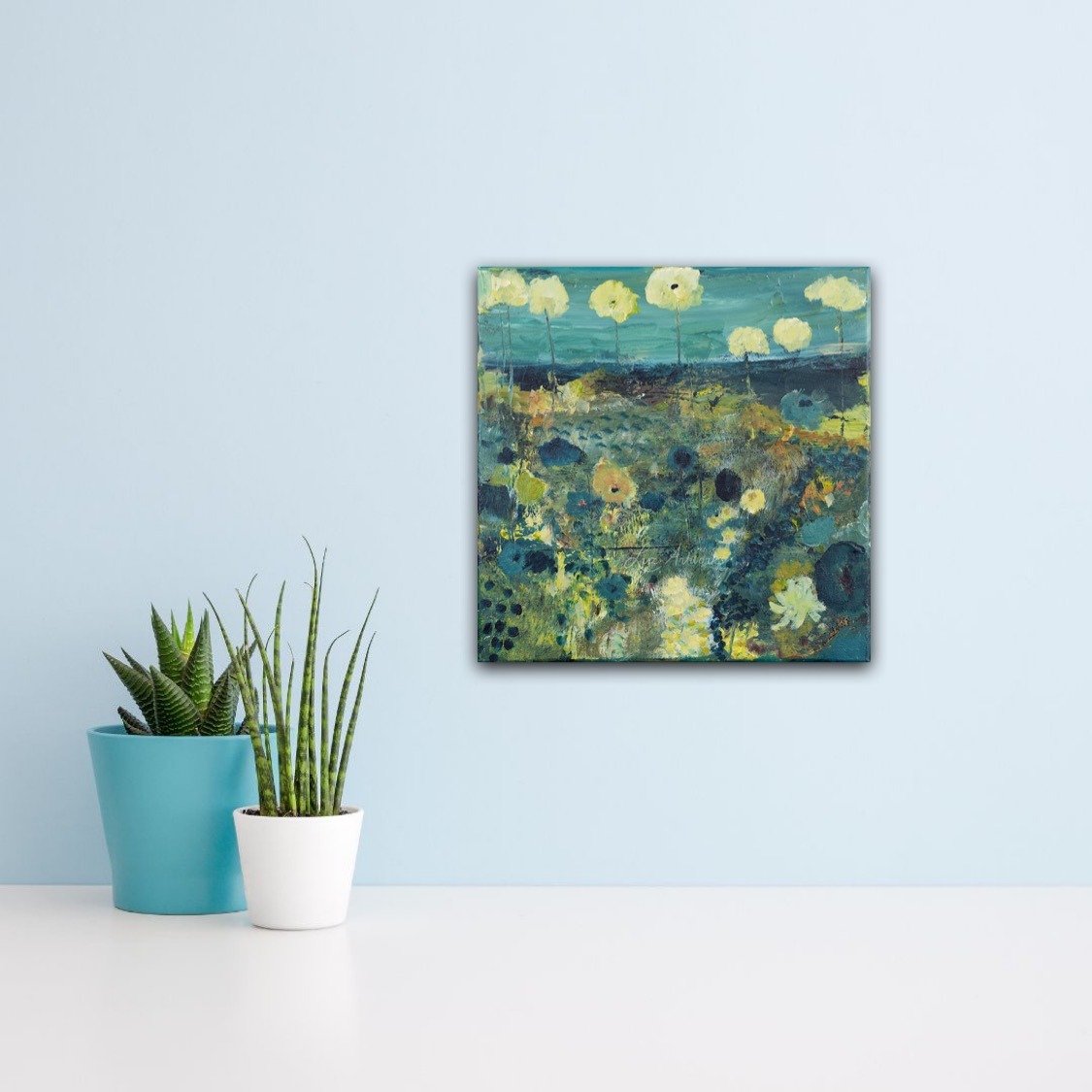This image shows the painting Blue Spring Flowers by Luz / Marloes Bloedjes
