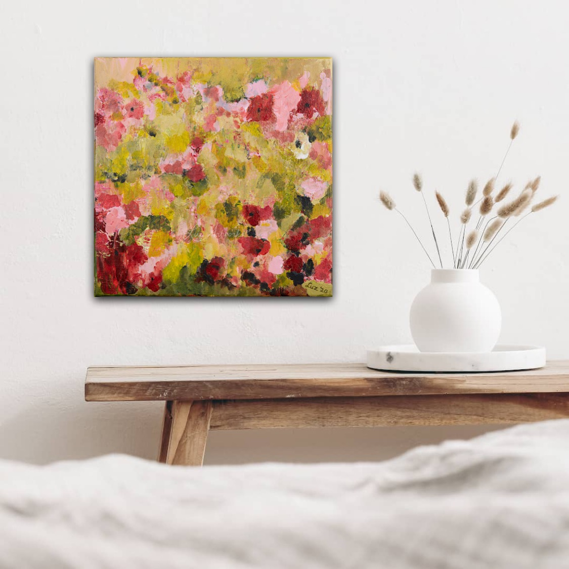 Painting Fresh Pink Flowers by Luz Artworks - on the wall