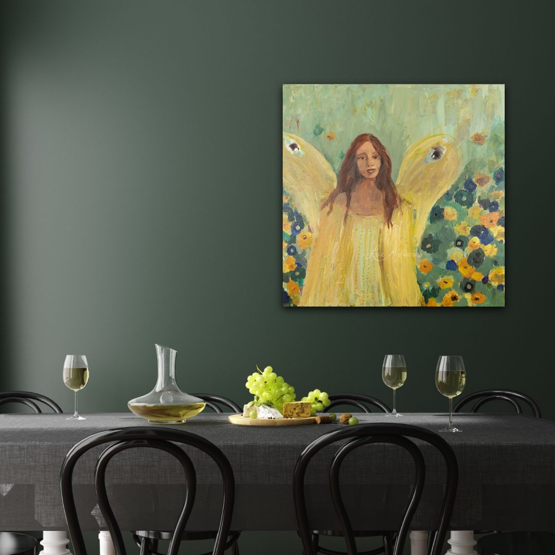 Painting Guardian Angel by Marloes Bloedjes - Luz Artworks - On the wall