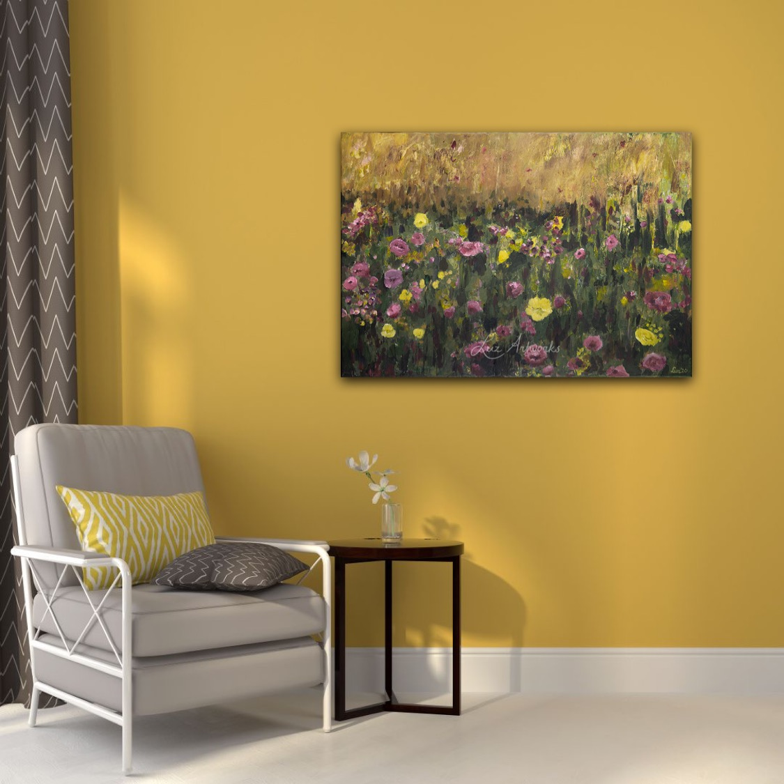 Pink and purple flower field by Luz Artworks Marloes Bloedjes - on the wall