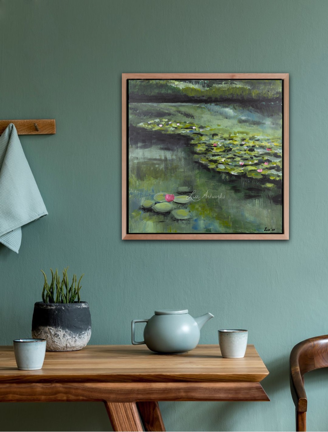 Painting Water Lilies 2020 by Marloes Bloedjes -Luz Artworks - On the wall