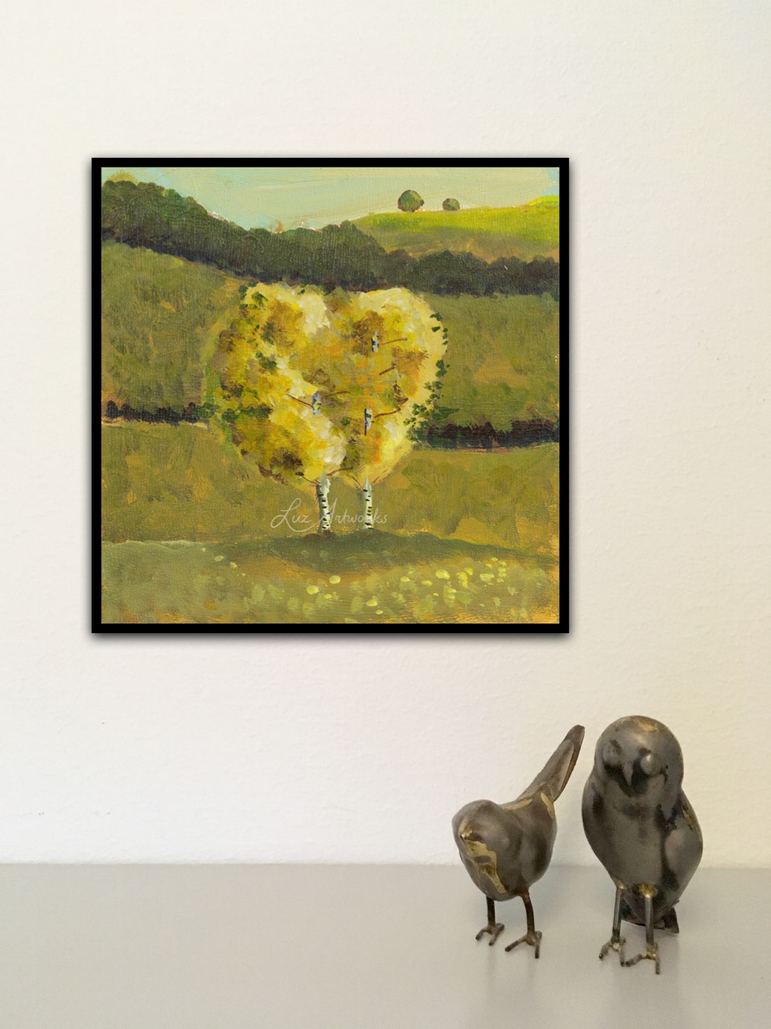 Painting Two Birch Trees by Luz Artworks - Marloes Bloedjes - On the wall