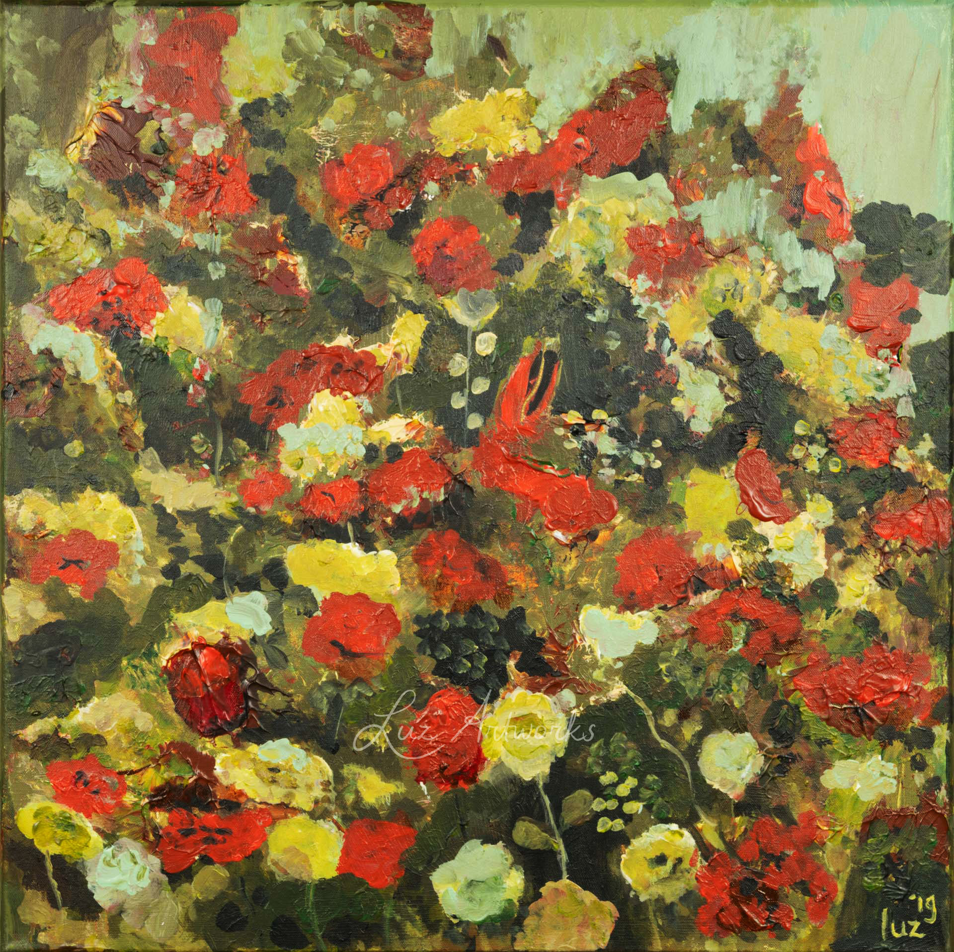 This image shows the painting 'Rose Garden' by Luz / Marloes Bloedjes.