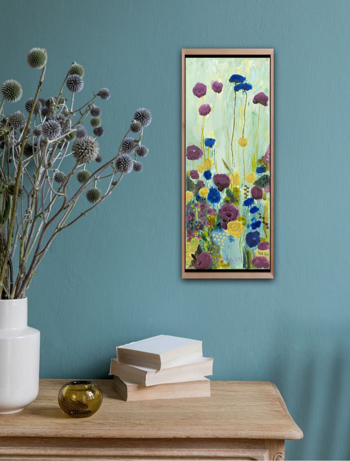 Blue and purple flower field - by Luz Artworks Marloes Bloedjes - on the wall