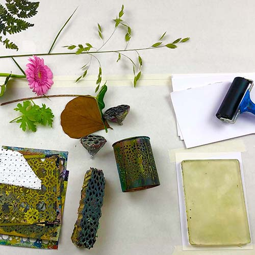 Botanical Gelli Prints painting course overview picture