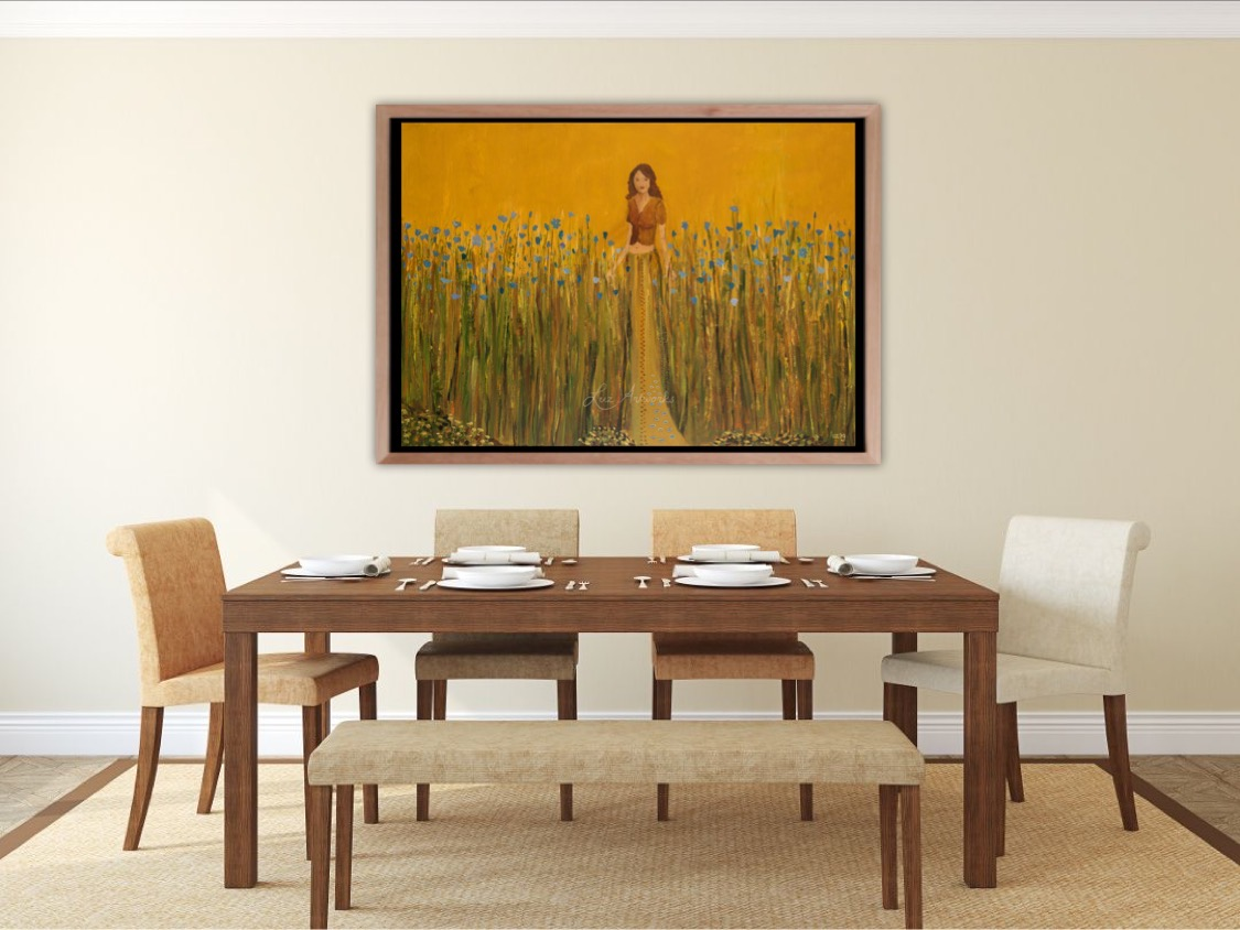 Painting Girl in the flax field - by Marloes Bloedjes Luz Artworks - On the wall
