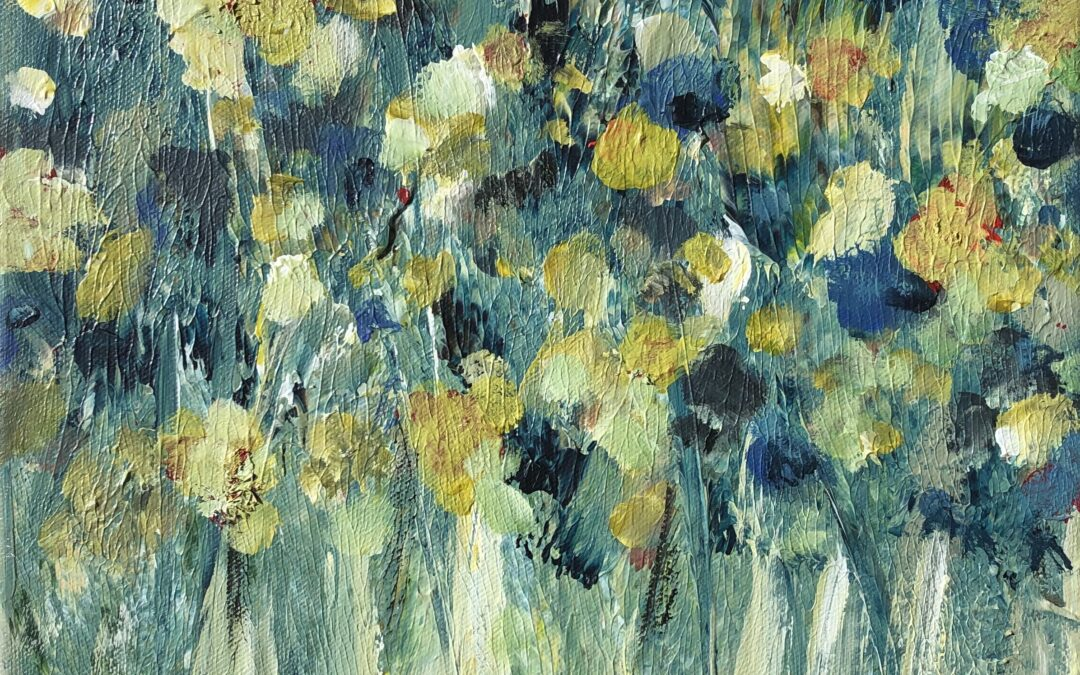 Shows the painting Blue Flowers