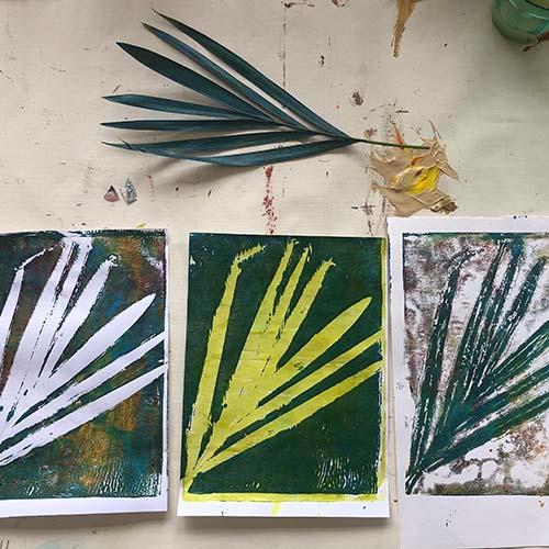 Botanical Gelli Prints painting course plant print picture