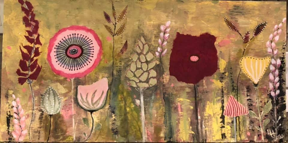 leslie's painting from the online painting course Fantasy Flowers by Luz Artworks