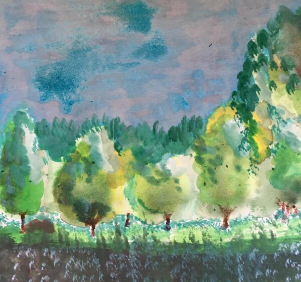 Marion's painting from the painting class Trees in the Light by Luz Artworks