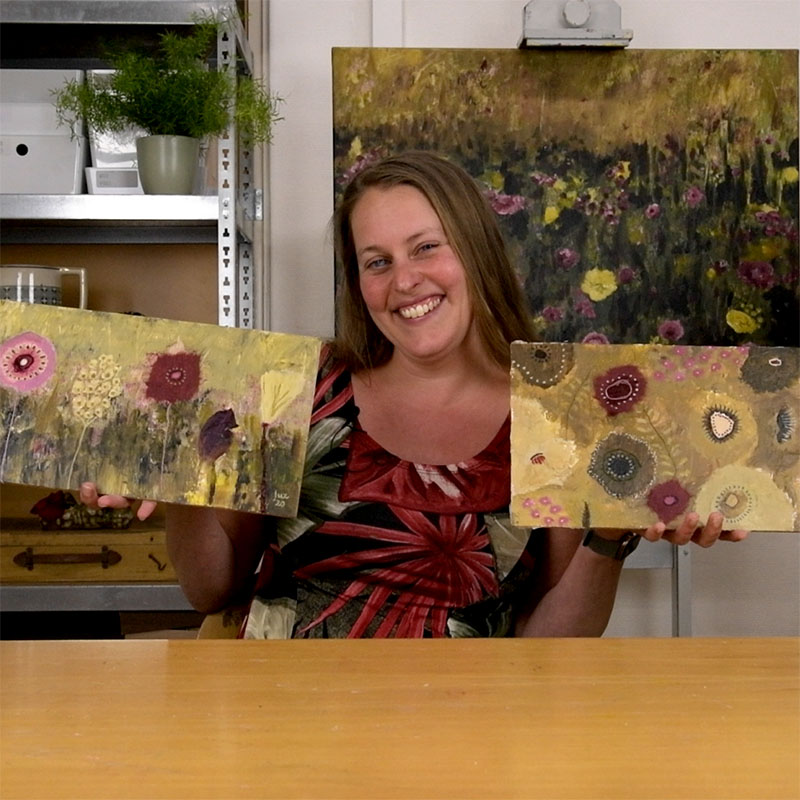 Online painting class Fantasy Flowers by Luz Artworks