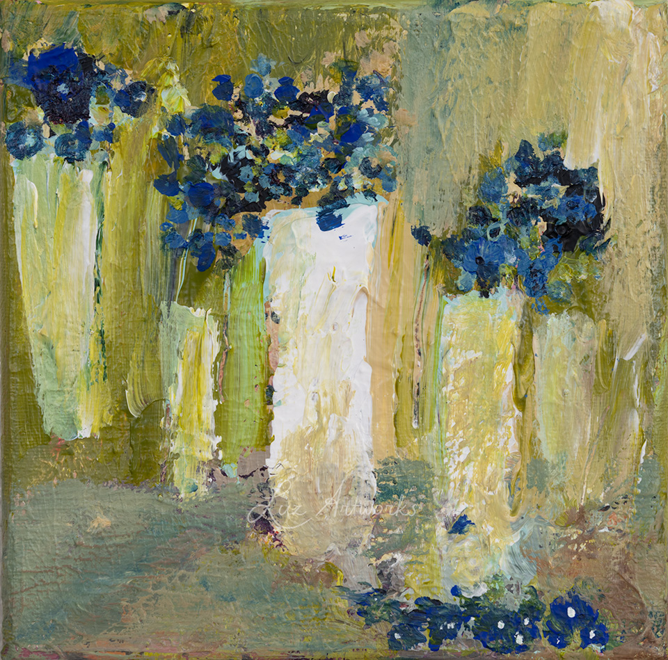 This image shows the painting Abstract vases with blue flowers by Luz / Marloes Bloedjes