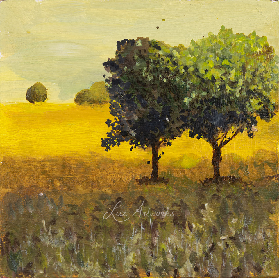This image shows the painting Trees in the light - Two trees in the hills by Luz / Marloes Bloedjes