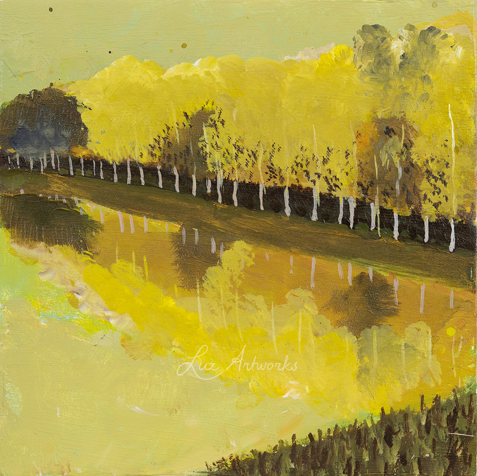 This image shows the painting Trees in the light - A Row Of Trees by Luz / Marloes Bloedjes