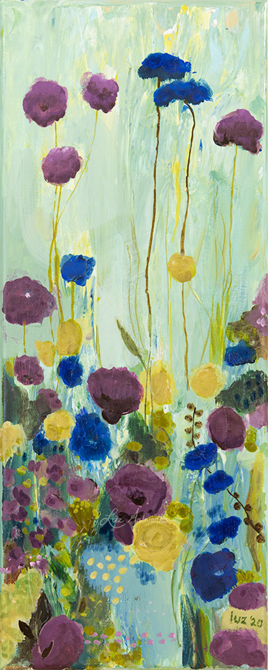 This image shows the painting Wild Flower Field Blue & Purple (left) by Luz / Marloes Bloedjes
