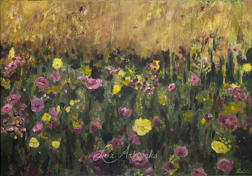 This image shows the painting Flower Field Pink and Purple by Luz / Marloes Bloedjes