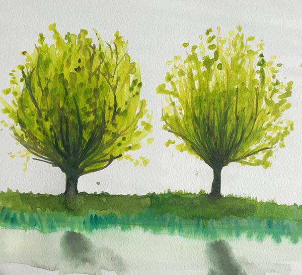 Susanna's painting from the painting class Trees in the Light by Luz Artworks