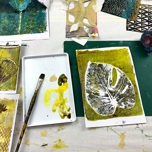Botanical Gelli Prints painting course finishing touch picture