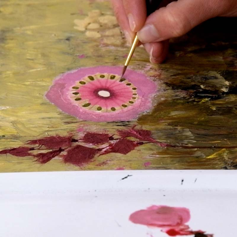 create a mixed media painting fantasy flowers by Luz Artworks