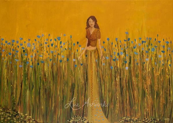girl in the flax field painting by Luz Artworks