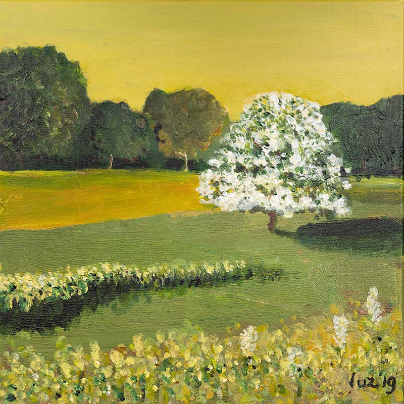 paint a series on wood - painting class Trees in the Light by Luz Artworks