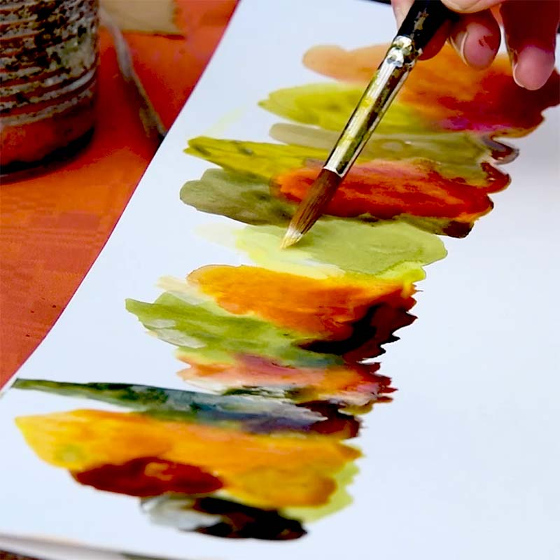 play with inks - painting class trees in the light by Luz Artworks