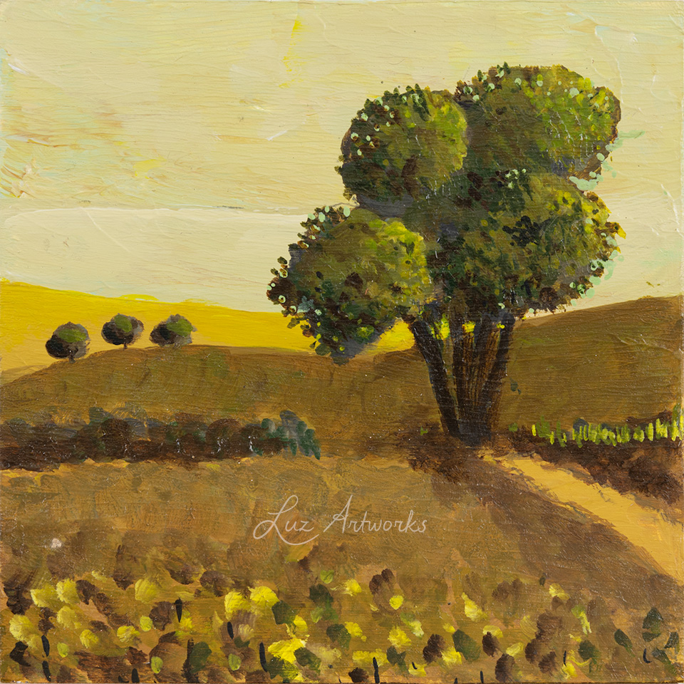 This image shows the painting Trees in the light - Solitary Tree by Luz./Marloes Bloedjes